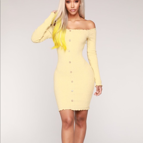 2e462b7271d98 Fashion Nova Dresses   Skirts - Jacklyn Off Shoulder Mini Dress - Yellow